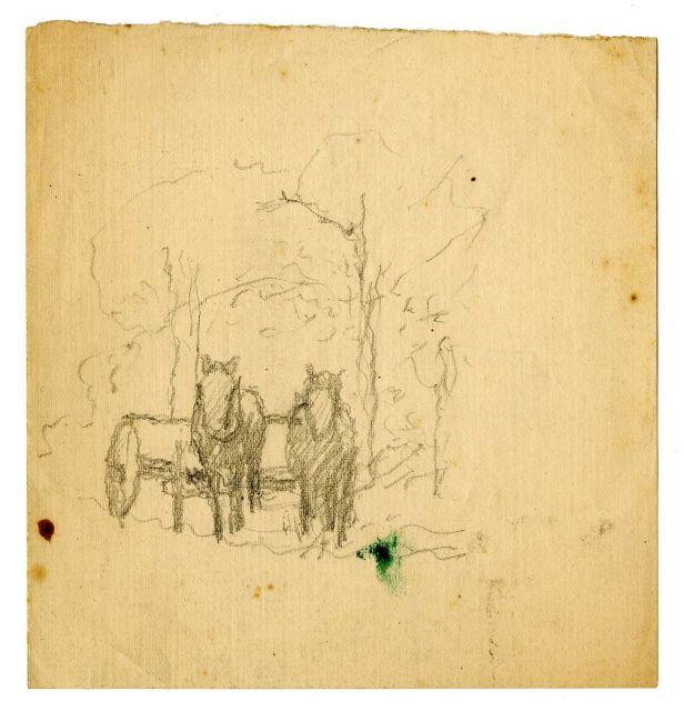 chevaux et wagon croquis de Theodore Clement Steele (1847-1926, United States)