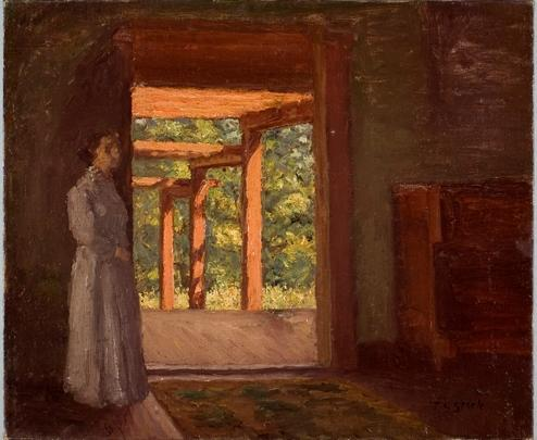 Lady in the Doorway de Theodore Clement Steele (1847-1926, United States)