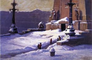 Theodore Clement Steele - monument dans le neige