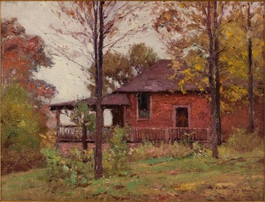 jour pluvieux , Le Home de Theodore Clement Steele (1847-1926, United States)