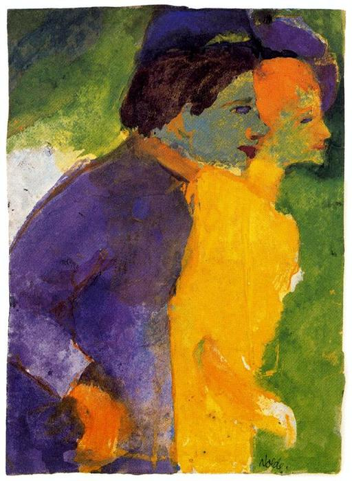 Couples , jaune et violette de Emile Nolde (1867-1956, Germany)