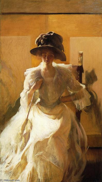Le Golden Screen, huile sur toile de Edmund Charles Tarbell (1862-1938, United States)