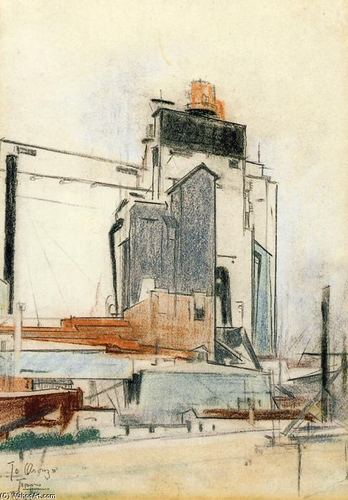 Grain Elevators, 1924 de William Preston Dickinson (1889-1930, United States) | ArtsDot.com
