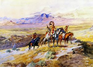 Charles Marion Russell - Indiens Scoutisme une Wagon Train