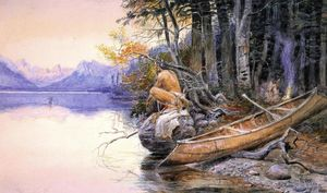Charles Marion Russell - Indian Camp - Lac McDonald