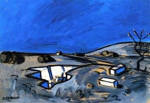 Auguste Chabaud - Paysage bleu