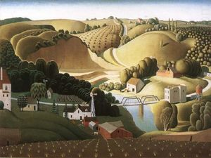 Grant Wood - Ville de pierre , Iowa