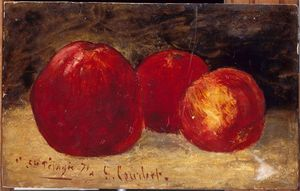 Gustave Courbet - trois rouge pommes