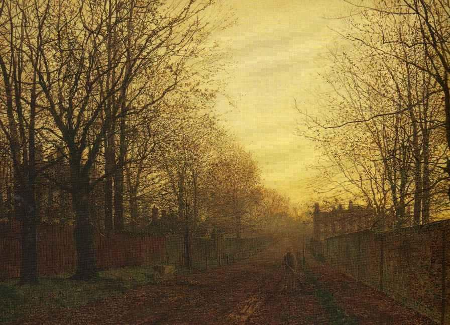 Wimbledon Parc , automne after glow, 1866 de John Atkinson Grimshaw (1836-1893, United Kingdom) | Reproductions D'art Sur Toile | ArtsDot.com