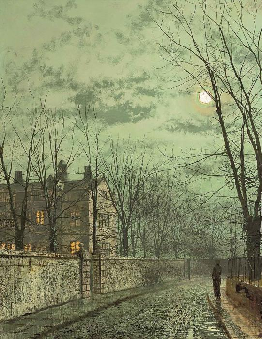 Sous les Moonbeams de John Atkinson Grimshaw (1836-1893, United Kingdom)