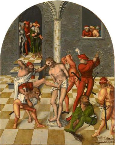 Flagellation du Christ, huile de Lucas Cranach The Elder (1472-1553, Germany)
