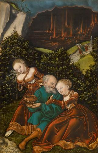 lot` et la sienne filles, huile de Lucas Cranach The Elder (1472-1553, Germany)