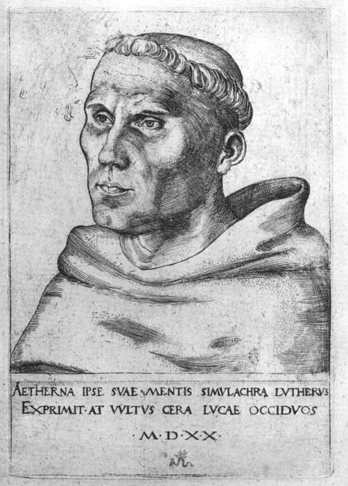 Martin Luther comme Monk, gravure de Lucas Cranach The Elder (1472-1553, Germany)