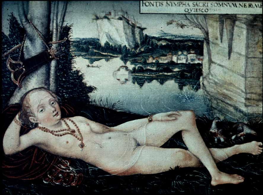 Eau Nymphe de repos, 1530 de Lucas Cranach The Elder (1472-1553, Germany)