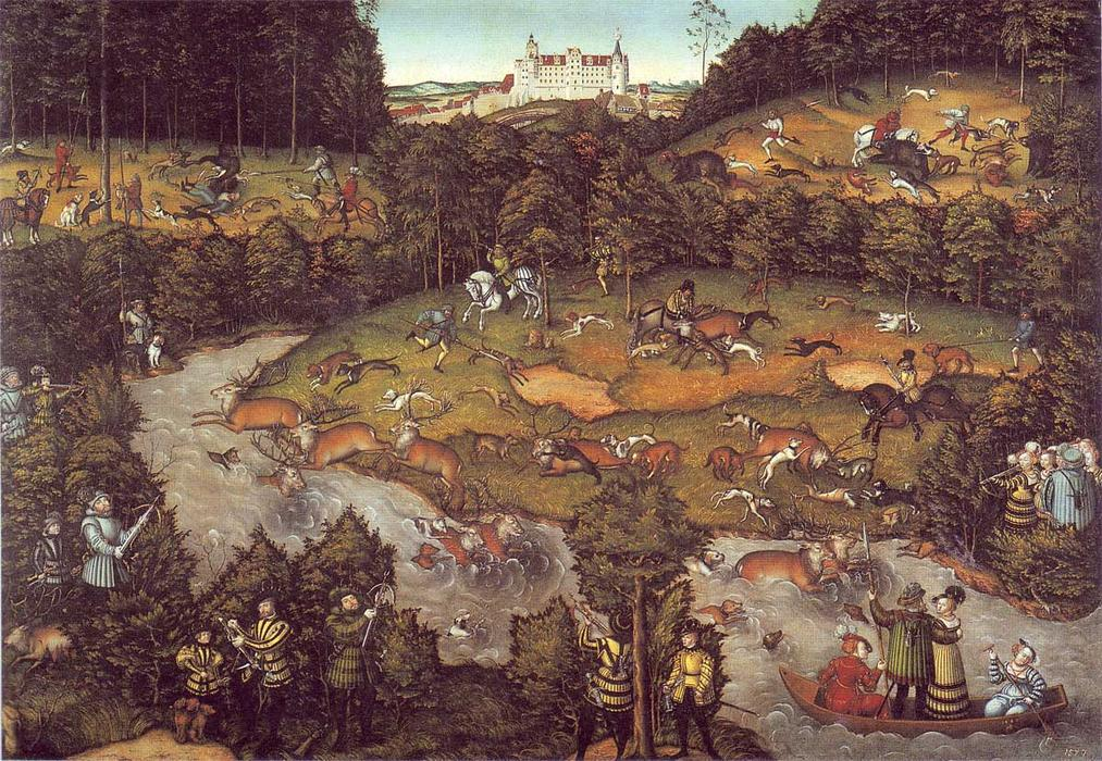 le cerf chasse, 1540 de Lucas Cranach The Elder (1472-1553, Germany)