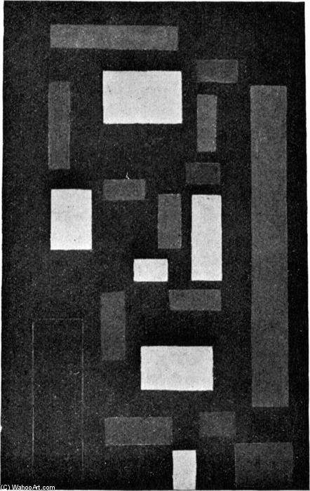 Composition VI (sur noir fond), 1917 de Theo Van Doesburg (1883-1931, Netherlands) | Reproduction Peinture | ArtsDot.com