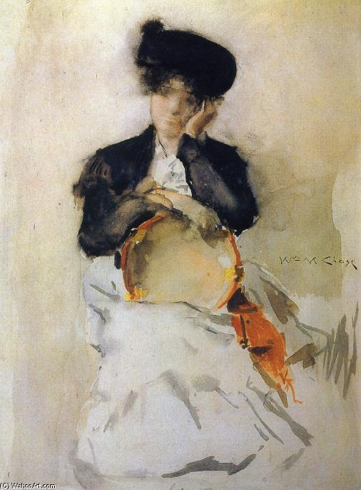 Fille avec Tambourine, aquarelle de William Merritt Chase (1849-1916, United States)