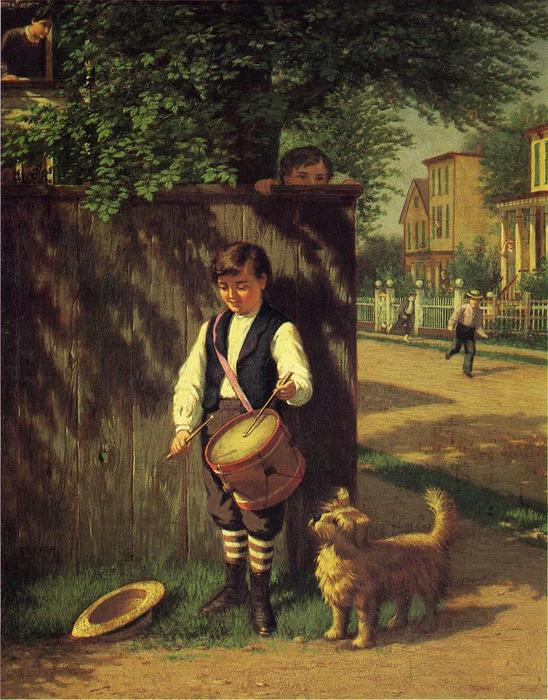 Little Drummer Boy, huile sur toile de Samuel S Carr (1837-1908, United Kingdom)