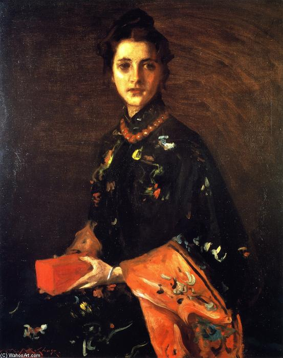 The Red Box Little (aussi connu comme The Red Box), huile sur toile de William Merritt Chase (1849-1916, United States)