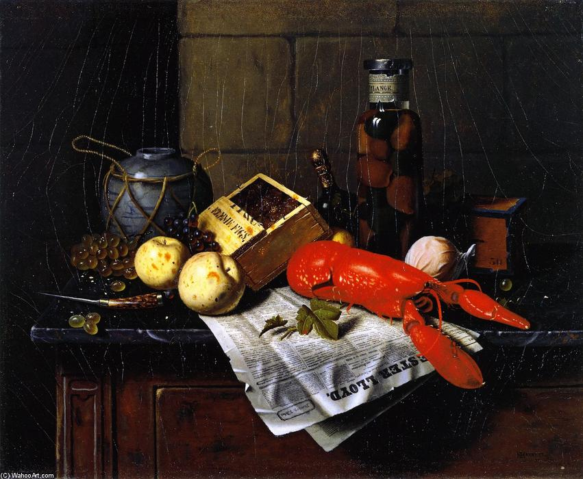 lobster et pester Lloyd, huile sur toile de William Michael Harnett (1848-1892, Ireland)