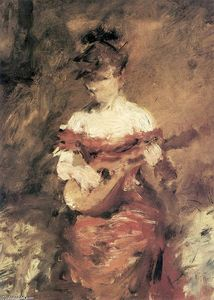 William Merritt Chase - a mandoline joueur