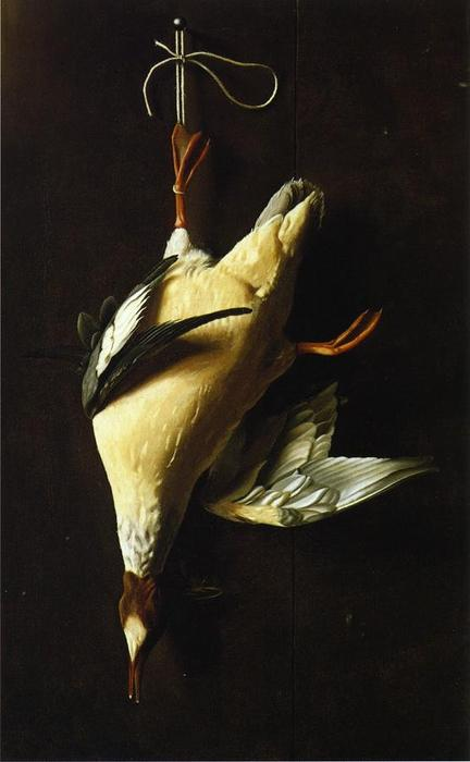 Merganser, huile sur toile de William Michael Harnett (1848-1892, Ireland)