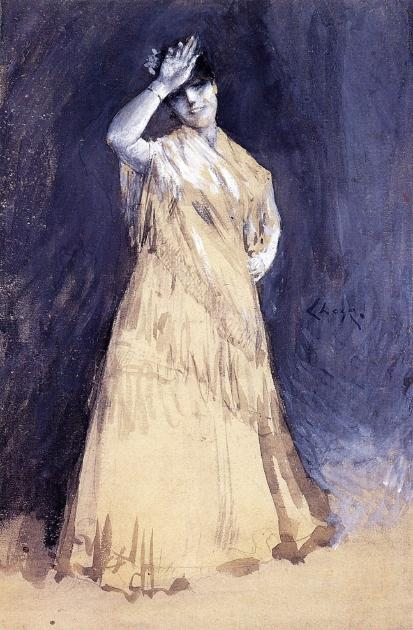 Mme Chase comme Señorita, aquarelle de William Merritt Chase (1849-1916, United States)