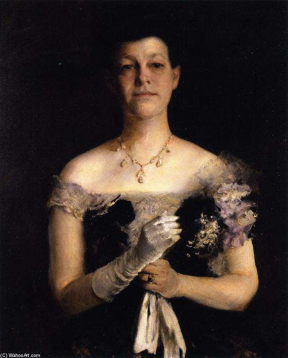 mme. richard y cuire, huile sur toile de William Merritt Chase (1849-1916, United States)