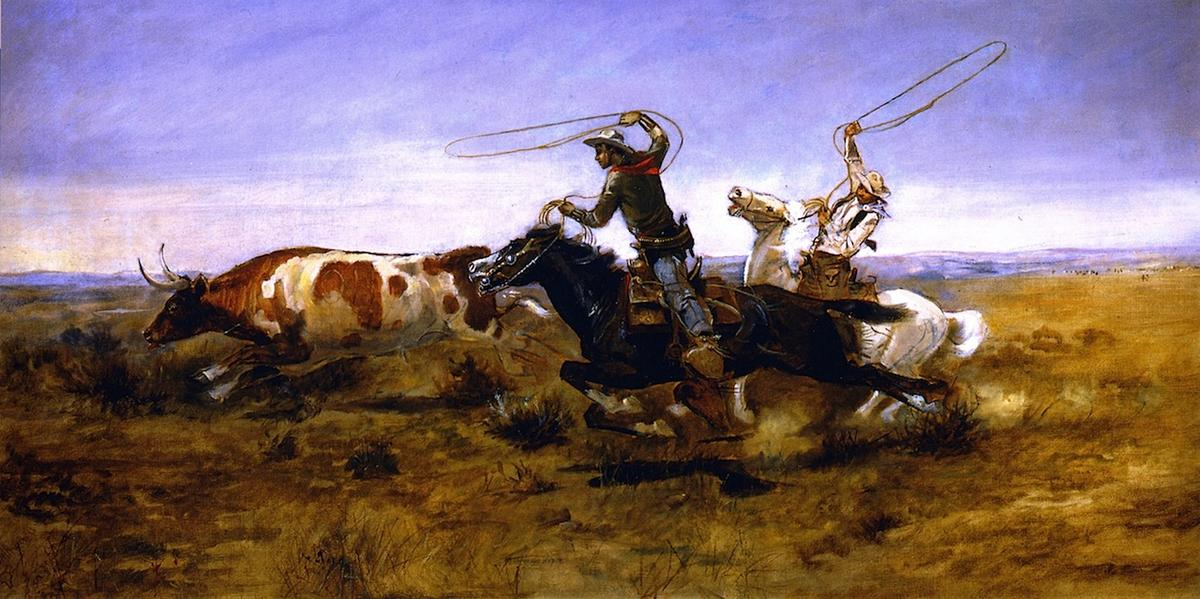 OH Cowboys Roping un Steer, 1892 de Charles Marion Russell (1864-1926, United States) | Reproductions D'art De Musée Charles Marion Russell | ArtsDot.com