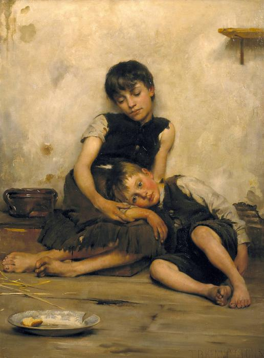Orphelins, huile sur toile de Thomas Benjamin Kennington (1856-1916, United Kingdom)