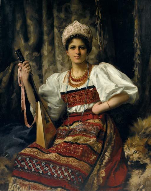 portrait de anne en russe costume tenue une balalaïka, 1900 de Thomas Benjamin Kennington (1856-1916, United Kingdom)