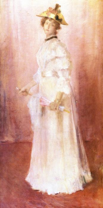 portrait d une dame contre rose Sol  (achat Fine Art copie tableau William Merritt Chase)