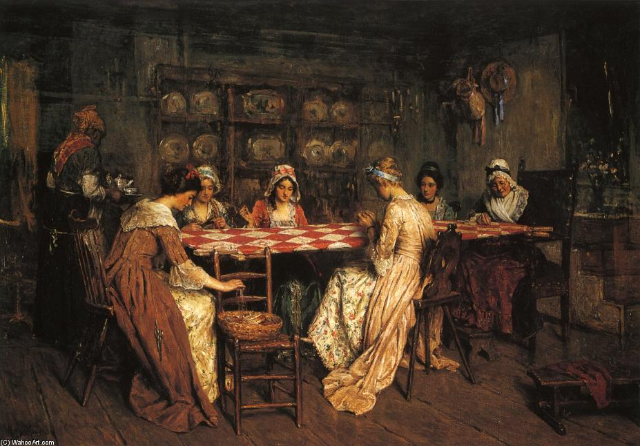 Quilting Bee, huile sur toile de Henry Mosler (1841-1920, Poland)