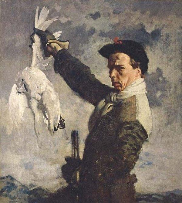 autoportrait la  mort  Lagopède  de William Newenham Montague Orpen (1878-1931, Ireland)