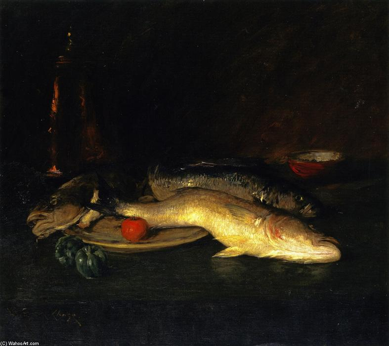 Nature Morte poisson , huile sur toile de William Merritt Chase (1849-1916, United States)