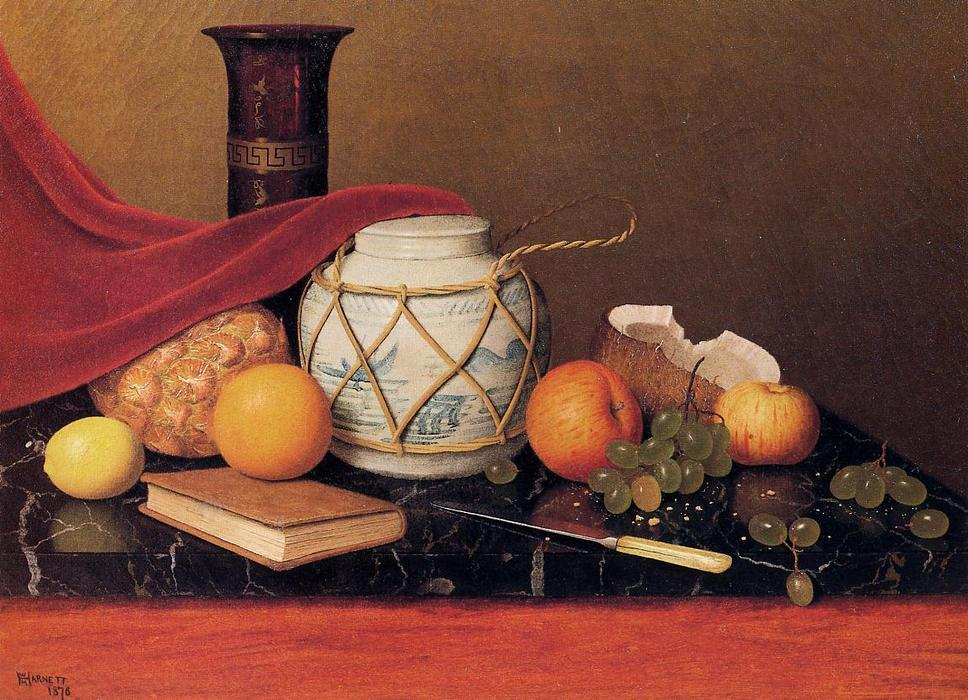 nature morte avec gingembre fiole, huile sur toile de William Michael Harnett (1848-1892, Ireland)