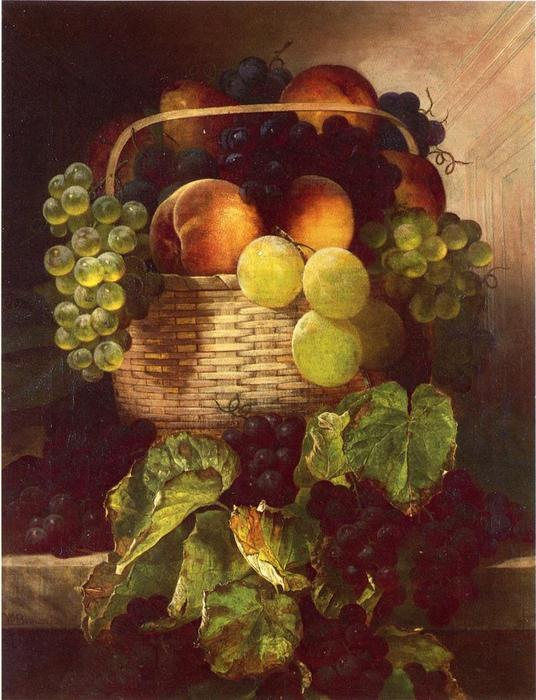 Still Life with Raisins . Prunes and Peaches dans a Panier, huile sur toile de William Mason Brown (1828-1898, United States)