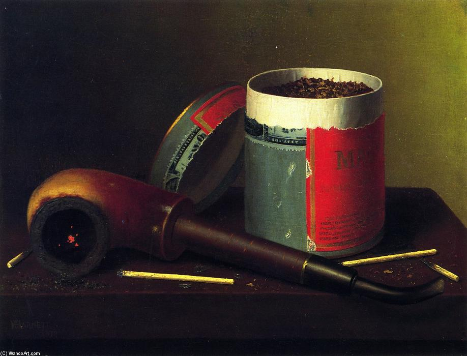 Nature morte à la pipe, huile sur toile de William Michael Harnett (1848-1892, Ireland)