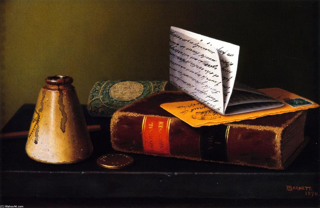 Nature morte avec Universal Gazetteer, huile sur toile de William Michael Harnett (1848-1892, Ireland)