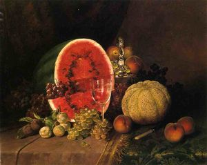 William Mason Brown - Nature morte avec pastèqu..