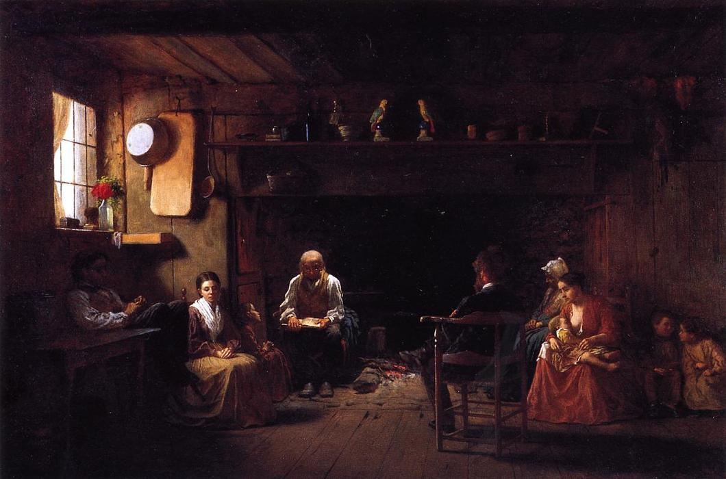 dimanche matin, 1866 de Jonathan Eastman Johnson (1824-1906, United Kingdom) | Copie Tableau | ArtsDot.com