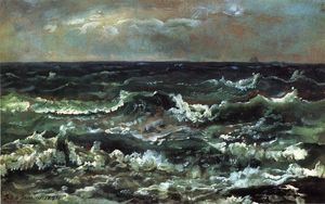Johan Christian Clausen Dahl - Waves et Breakers dans la baie..