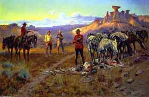 Charles Marion Russell - Smugglers Whiskey bloqués avec les marchandises