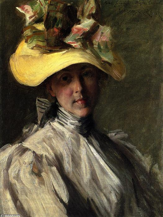 femme avec un grand  chapeau , 1904 de William Merritt Chase (1849-1916, United States) | ArtsDot.com