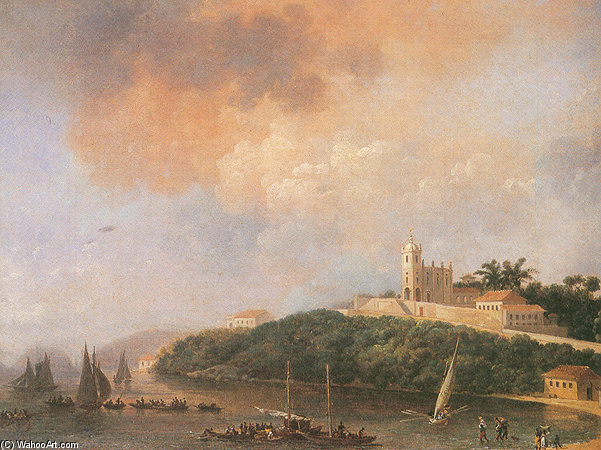 View From The Outeiro, la plage et la Church Of Glória de Nicolas Antoine Taunay (1755-1830, France)