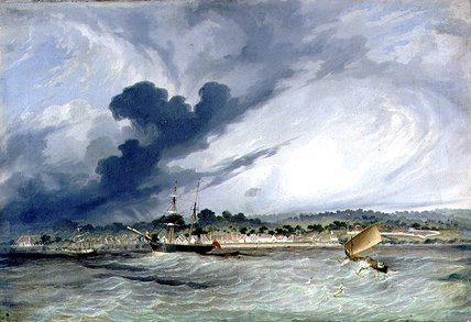 Copang Bay, Le Messager à l ancre de Thomas Baines (1820-1875, United Kingdom)