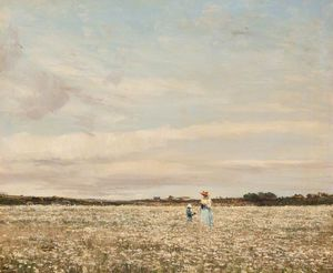 William Page Atkinson Wells - Margeurites dans le prairie