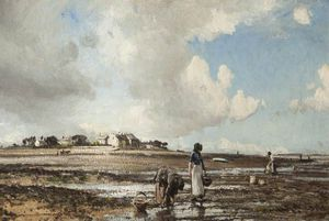 William Page Atkinson Wells - The Mussel Gatherers A Sunderland Point, Lancashire