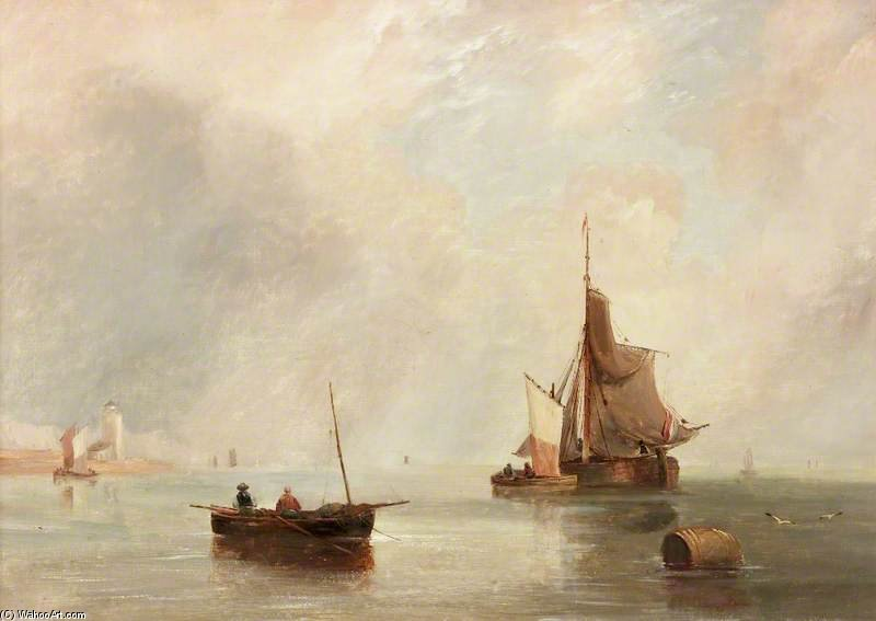 Off North Shields de John Wilson Carmichael (1800-1868, United Kingdom)