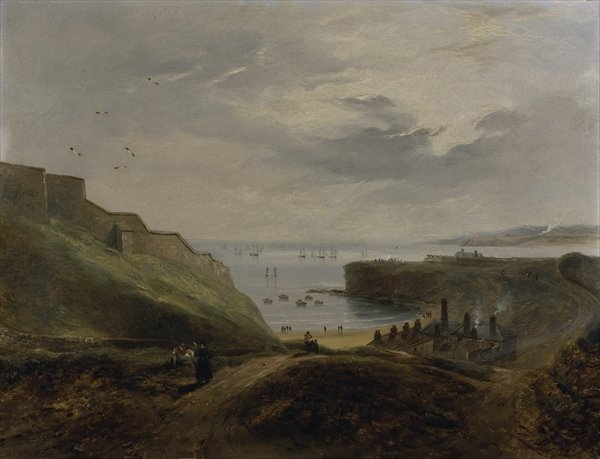 Sunrise - Haven, Tynemouth de Prior de John Wilson Carmichael (1800-1868, United Kingdom)